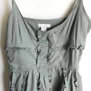 Lauren U. Dresses - Lauren U Army Green Boho Dress Ruffles Size M
